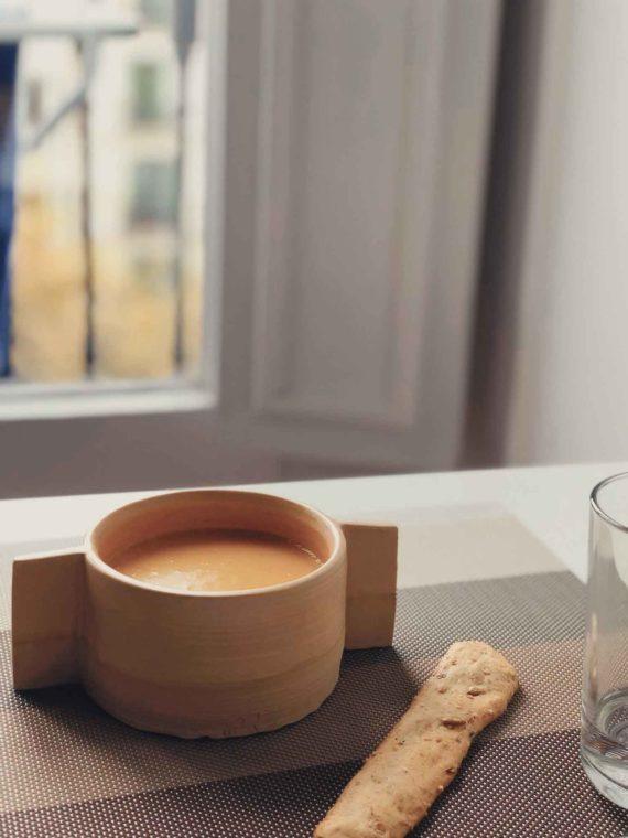 bowl con sopa caliente de tierra ceramicas
